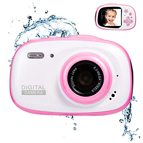 Abdtech Waterproof Kids Camera Gift for 8-12 Year Old Teens, Mini Digital Cameras for Child Girls Boys, 8MP Compact Camera with 16Gb SD Card Best Halloween (Pink)