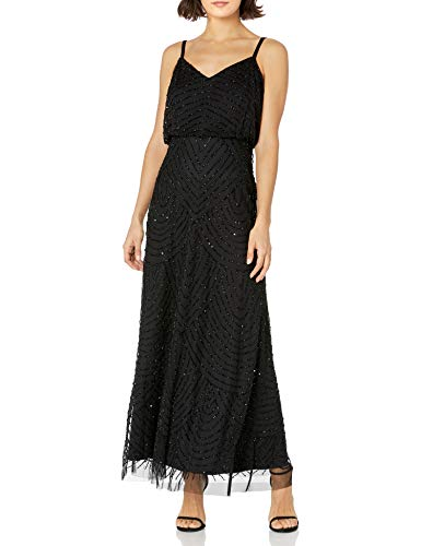 Adrianna Papell Women's Long Blouson Dress Petite, Black, 4P