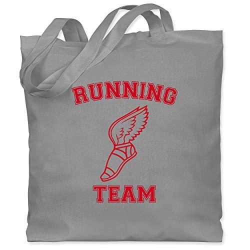Shirtracer Laufsport - Running Team Hermes - Unisize - Hellgrau - Flügel - WM101 - Stoffbeutel aus Baumwolle Jutebeutel lange Henkel