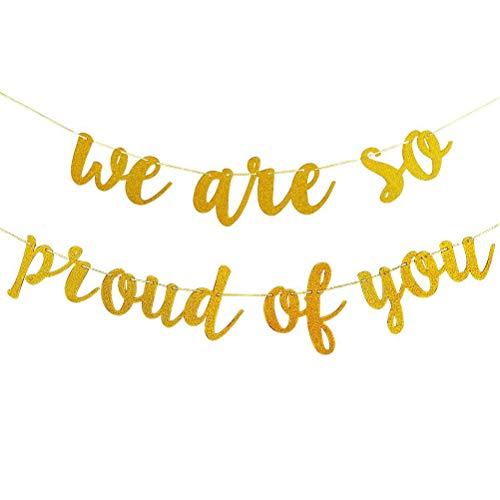 BESTOYARD Wir sind so stolz auf Sie Banner Glitter Gold Graduation Banner Hängende Girlande Dekor für Abschluss Party Supplies