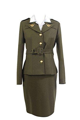 RedJade Captain America Peggy Carter Uniforme Traje de Cosplay Disfraz ejrcito Verde Mujeres M