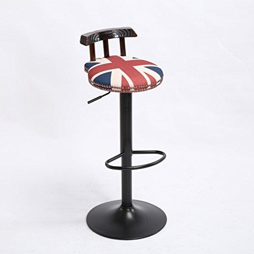 XAGB Sedia vintage da bar in grado di alzare, decrementare i cuscini di iuta. Creativa seggiolone in stile europeo sedia in legno altezza 60-80 cm