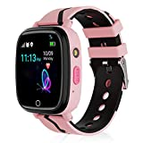 Kids Smart Watch,Children GPS Smartwatches with Call Voice Chat SOS Alarm Clock Camera Smart Watch for Children 4-12 Years Old Compatible with iOS / Android,Christmas Birthday Gifts for Kids (Pink)