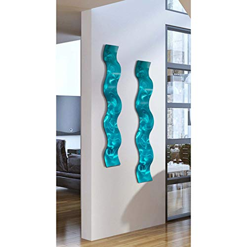 "Statements2000 Set of Two Aqua Wave 3D Abstract Metal Wall Art Sculpture Wave - Modern Home Décor by Jon Allen - 46.5"" x 6"""