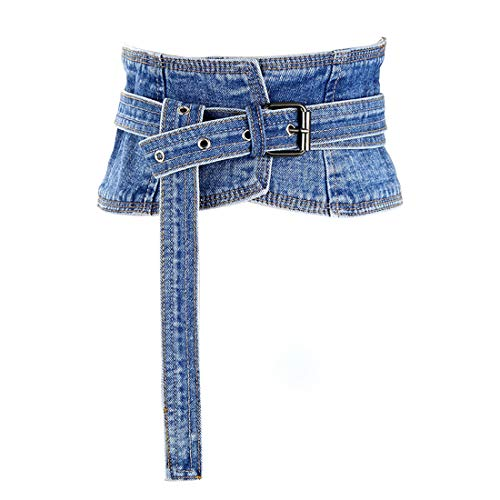 shengweiao Women's Denim Peplum Waist Cinch Belt Wide Corset Belts (Blue, 24'-27.5')