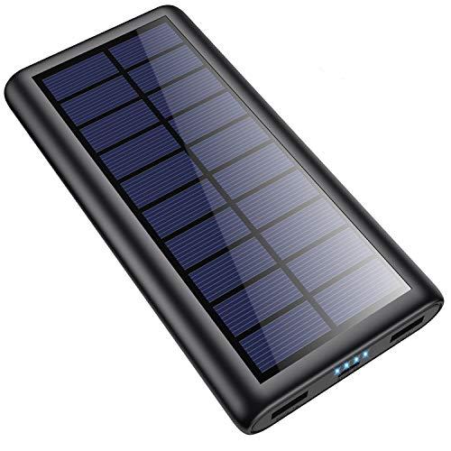 Pxwaxpy Solar Powerbank 26800mah, Externer Akku Hohe Kapazität Solar Ladegerät mit 2 Ausgängen Power Bank Akkupack für Aktivitäten im Freien, kompatibel mit Allen Smartphones, Tablets und USB-Geräten