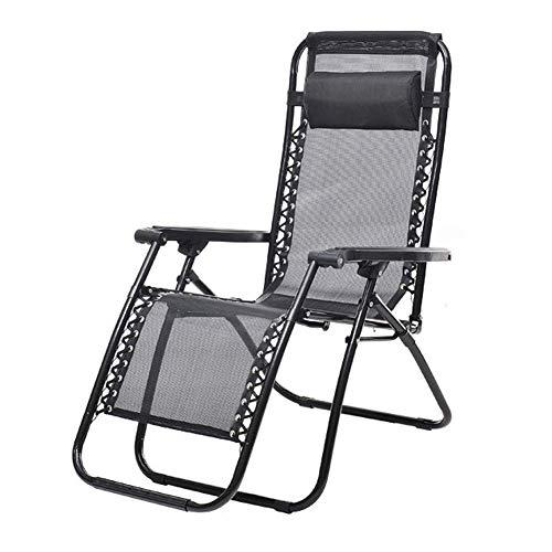 Sedia Pieghevole A gravità Zero Reclinabile, Sedie A Sdraio in Alluminio con Cuscino, Sedie A Sdraio Regolabili per Salotto da Spiaggia All'Aperto Nero