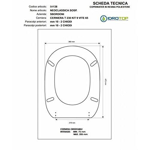 ACB/COLBAM WC-bril van hout gecoat met polyester voor klassieke SOSPESO witte ritssluiting losjes Soft Close Oro-boorden