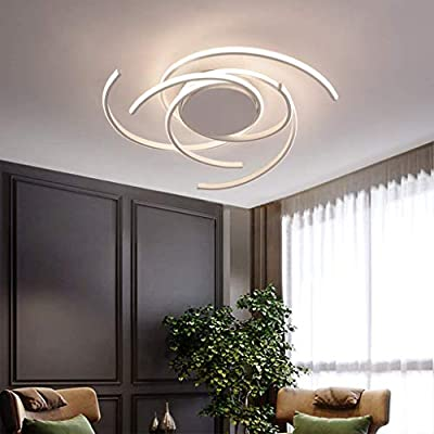 JXILY LED Ceiling Lights Room Modern Ceiling Lamp Metal Acrylic Lampshade Creative Bed Study Flower Shape Design Lounge Indoor Lighting Pendant Decor Lamp Chandelier,White,75Cm,Dimmable,75cm (92W)