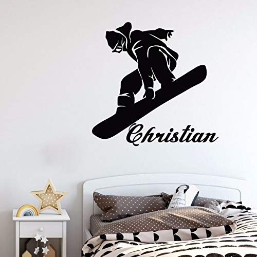 Snowboard muurtattoos gepersonaliseerde naam sport behang kinderkamer decoratie kinderkamer sport Sonwboard muursticker 82x84cm Pfcphxelb-82x84cm