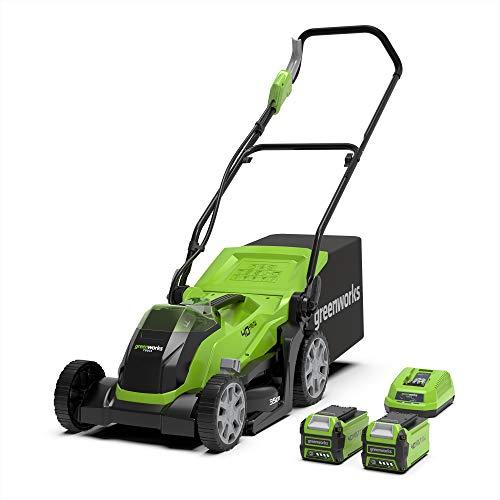Greenworks Tools 01-0002501907UC G40LM35K2x Akku-Rasenmäher, 35 cm Schnittbreite inklusive 2 Akkus 2 Ah und Ladegerät, 40 V, Grün, Schwarz, Grau, 35cm
