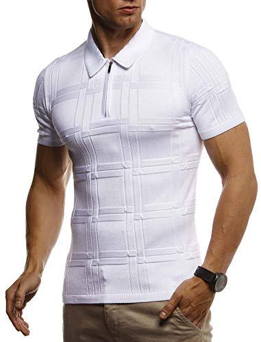 Leif Nelson Herren Sommer T-Shirt Poloshirt Slim Fit aus Feinstrick Cooles Basic Männer Polo-Shirt Crew Neck Jungen Kurzarmshirt Polo Shirt Sweater Kurzarm LN7325 Weiß Medium
