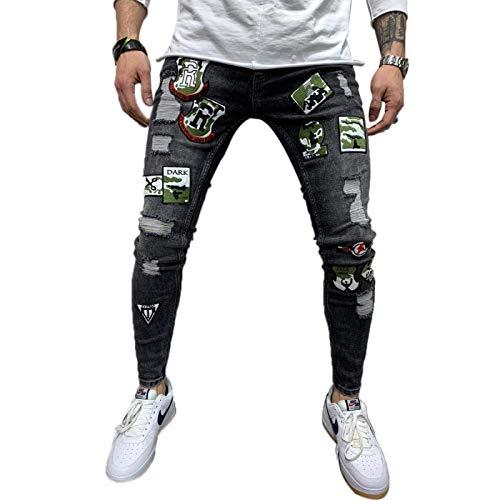 ShSnnwrl Cómodo y Suave Vaqueros para Jeans Pantalones Pantalones Vaqueros Elásticos con Estampado De Motociclista Y Rasgados Y R