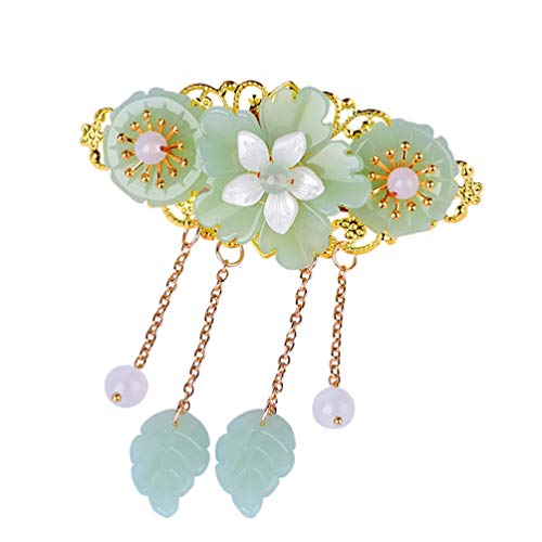 Minkissy Chinese Style Hair Clips Ponytail Holder Long Tassel Hair Barrettes Jade Hair Clips Glaze Flower Pearl for Women Hanfu Cosplay Hair Accessories (Light Green)