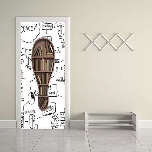 Behang deurbehang zelfklevend deurposter boekenplank ideeën in het formaat 77 x 200 cm - vinyl deur muurschilderijen deur behang voor slaapkamer badkamer 88x200cm