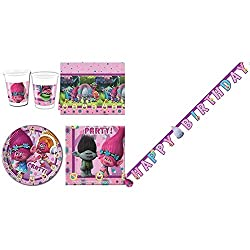 Product 1: All Inclusive Trolls Partyware Set for 8 people Product 1: Contains Plates, Cups, Napkins and Tablecover Product 1: Featuring Trolls Characters Product 1: Excellent Party Pack Product 2: Paper Happy Birthday die-cut banner featuring Dreamw...