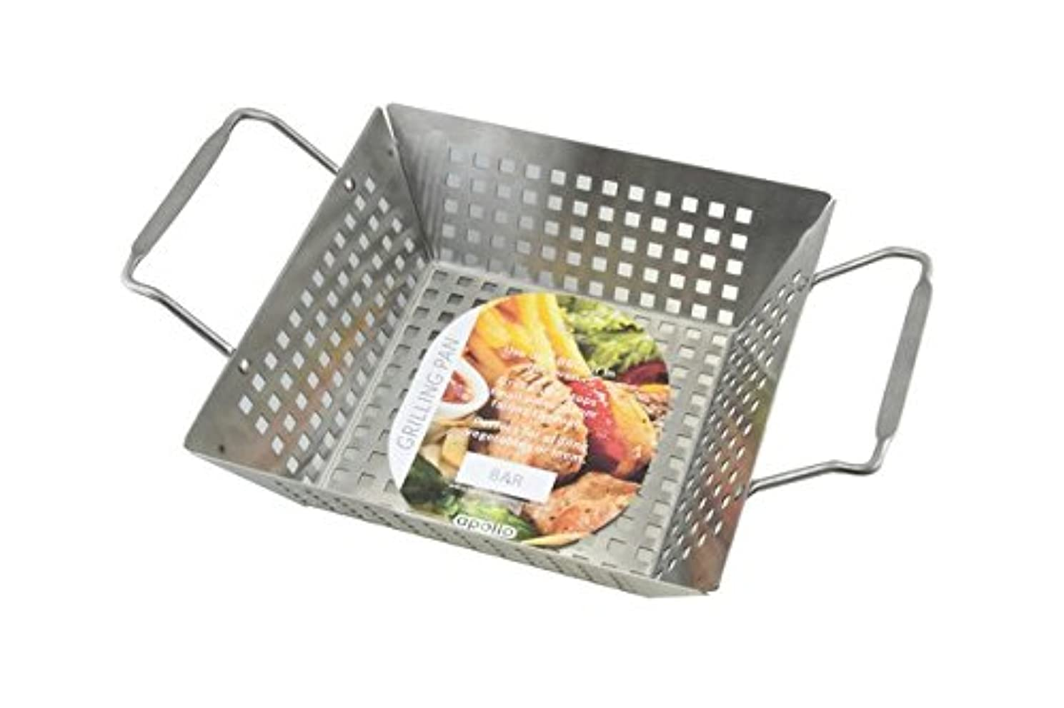 Apollo Deep Grill Pan, Brushed Steel Silver, 32 x 22 x 10 cm