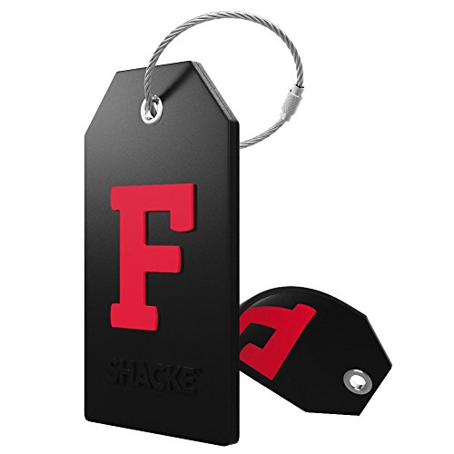Initial Luggage Tag with Full Privacy Cover and Stainless Steel Loop (Black) (F)