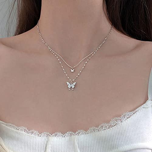 MIKUAU Collar Collar de Mariposa Plateado Brillante para Mujer, Collar de Cadena Brillante de clavícula de Doble Capa, joyería