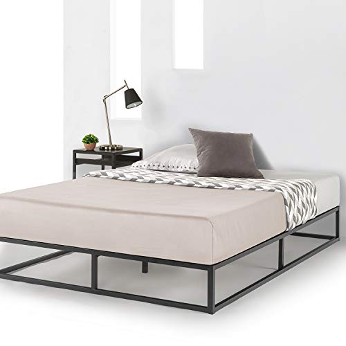 Mellow 10 inch Metal Platform Bed Frame Type w/Classic Wooden Slat Support Mattress Foundation (No Box Spring Needed), Queen, Black
