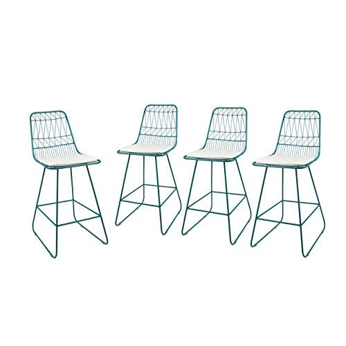 """Great Deal Furniture Ella Outdoor Counter Stools, 26"""" Seats, Modern, Geometric, Teal Iron Frames with Ivory Cushion (Set of 4)"""