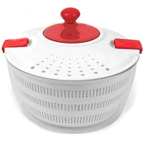 Space Home - Centrifugadora/Escurridor para Ensalada y Vegetales con 2 Clips - Spinner para Verduras - 3 L - Roja y Blanca