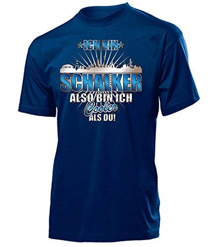 Ich Bin Schalker Also Bin ich Cooler als du 4619 Fussball Fanshirt Fanartikel Fan Geschenk Geburtstag Männer Herren Fun-T-Shirts Navy XL