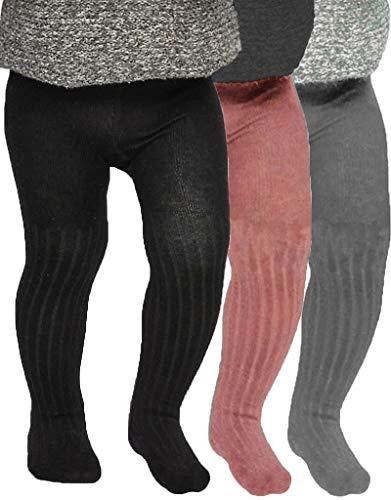Tiny One Leotardos para bebé niña y niño en un paquete de 3 – Juego de medias de algodón orgánico y certificado GOTS – Rosa, gris jaspeado y negro Blanco roto, gris claro, negro. 86 cm(18 meses)
