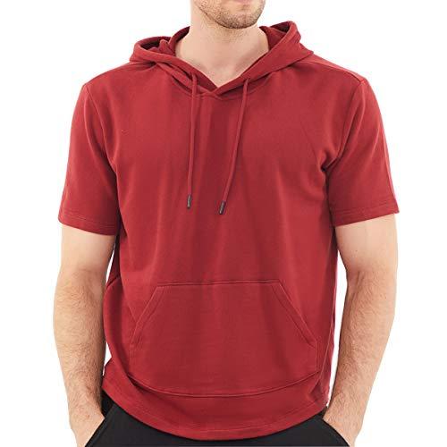 Dubinik Sudadera ligera con capucha para hombre de manga corta con bolsillo Kanga - rojo - XXX-Large