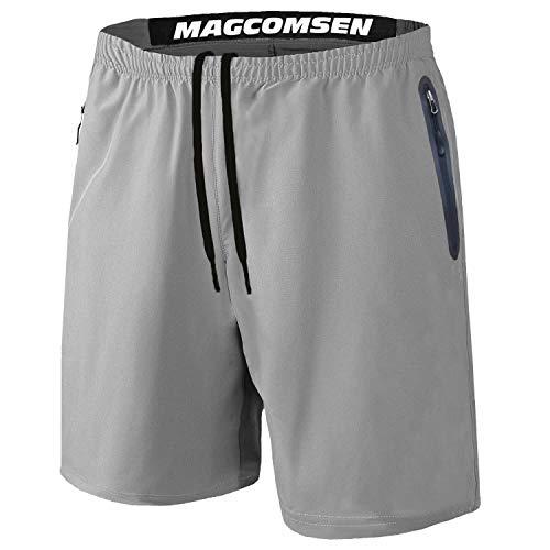 MAGCOMSEN Workout Shorts Men with Pockets Mens Running Shorts Men Gym Shorts for Men Volleyball Shorts Hiking Shorts Mens Athletic Shorts Light Grey