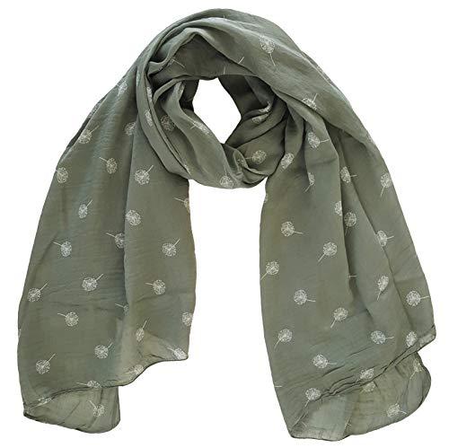 thb Richter Damen Seidenschal mit Pusteblume Made-in-Italy Seide Schal Seidenmischung Tuch Schals Tücher Stola Silk Blumen Dandelion (Armygrün mit Weiß)