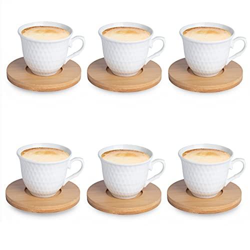 JUJOYBD Set di 12 tazzine da caffè TLG con piattino in bambù – Servizio da caffè 6 tazze/6 piattini – tazze da caffè per 6 persone, 80 ml