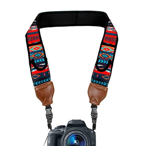 USA Gear TrueSHOT Correa Camara Reflex, Bolsillos para Accesorios y Hebillas de Liberación Rápida - Compatible con Canon, Nikon, Sony, Olympus, Pentax, Fujifilm y más - Diseño con Aztec