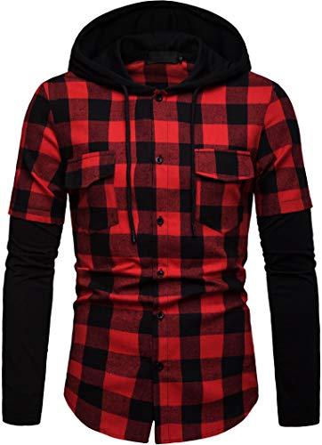 Blusa de Hombre Camisetas de Cuadros Ocasionales de los Jersey Blusa con Capucha Superior Cosiendo Manga Larga con Capucha para Hombre (Rojo, L)