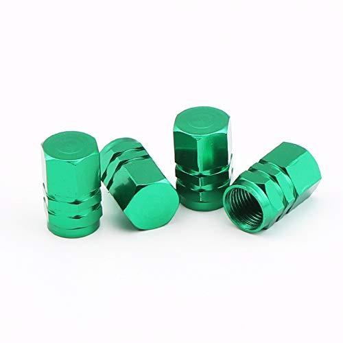 WBNCUAP Tapas De VáLvulas De NeumáTicos Tallos de válvula y Tapa de aleación de Aluminio de aleación de Aluminio Tallos de válvula de neumático Cubre Tapas de Polvo de Aire (Color : Green)