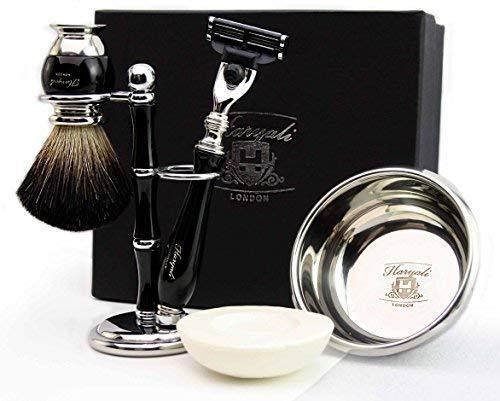 Haryali London set de rasage - kit de rasage avec rasoir de sécurité | Brosse de rasage blaireau noir | Bol de rasage | Savon à raser | Support de rasage