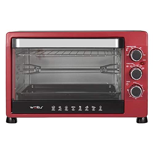 WOLTU BF12rsz Mini Backofen 32 Liter, 1600 Watt Toasterofen | Pizzaofen | Herausnehmbares Krümelblech mit Timer Minibackofen für Pizza, Toast, Truthahn, Hot Dogs Schwarz+Rot
