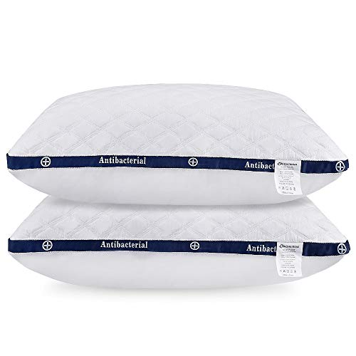 HOMEIDEAS Bed Pillows for Sleeping - Alternative Pillows, Super Soft Plush Fiber Fill, 3D Shape Never Go Flat, Relief Neck Pain (2 Pack Standard Size)