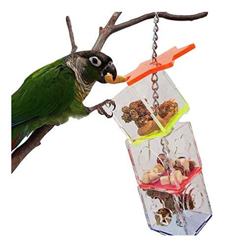 Hitasi ペットおもちゃ インコ 鳥 オウム おもちゃ 餌入れ おやつ玩具 鳥の餌 給餌器 食器 小動物用フード 透明 アクリル 三重 知育玩具 吊り下げ式 セキセイインコ 早食い対策 ストレス解消 人気 おもちゃ ペット用品