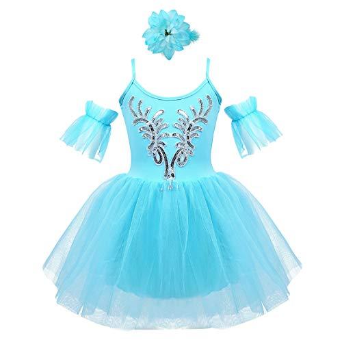FEESHOW Mädchen Glitzer Ballettkleid Kinder Balletttrikot Leotard Tanzkleid Schwanensee Kostüm Moderne Tanz Outfits Himmelblau 122-128/7-8 Jahre