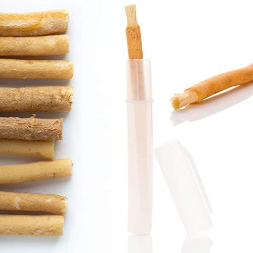 Miswak Zahnbürste [5 Stück] in Frischhalte-Dose - Optimal für Unterwegs - Siwak Holzzahnbürste Premiumqualität - Vegan - 100% natürliche Zahnbürste mit Mineralien für Gesunde Zähne und Mundpflege