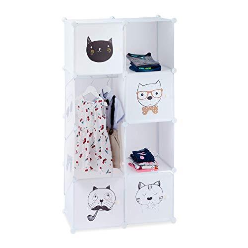 Relaxdays Steckregal Kinderzimmer, Katzen Motiv, 7 Fächer, Kleiderstange, Kleiderschrank HxBxT: 145 x 74 x 36,5 cm, weiß