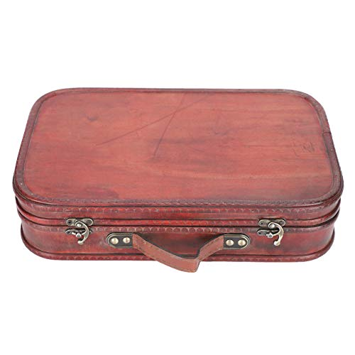 Nivvity Retro Suitcase, Old Style Suitcase Retro Suitcase Antique Vintage Wood Box Hand Luggage Bag Photo Studio Photography Props