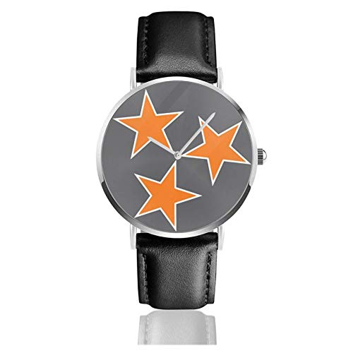 Tennessee Tri Star Flag Reloj Deportivo a Prueba de Agua Reloj de Pulsera de Cuarzo 38 mm Ocio Relojes con Correa de Cuero Negro