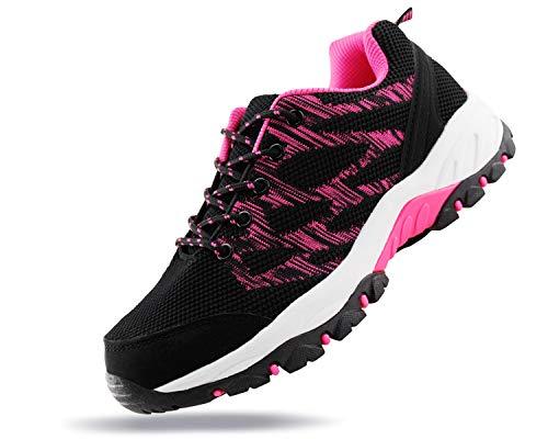 JABASIC Women Outdoor Hiking Shoes Lightweight Knit Sneakers (7,Black/Fuchsia-1)