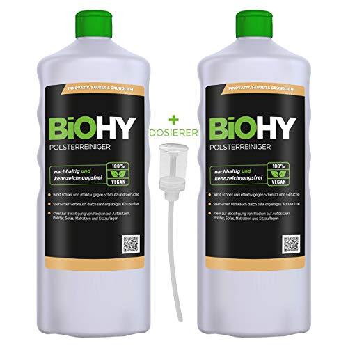 BIOHY Spezial Polsterreiniger (2x1l Flasche) + Dosierer | Ideal für Autositze, Sofas, Matratzen etc. | Ebenfalls für Waschsauger geeignet