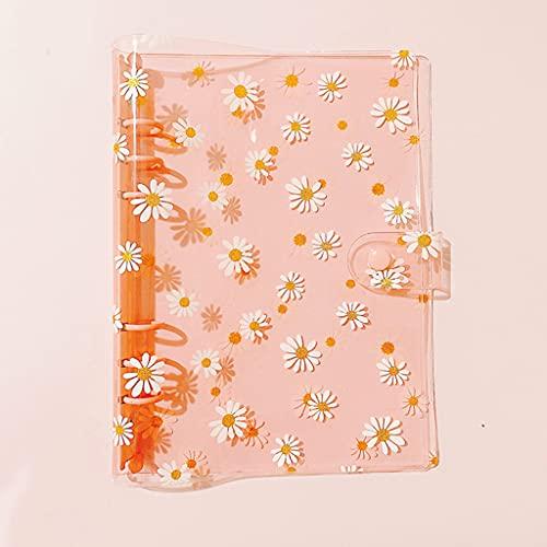 ZHINTE Notebook Cute Daisys A 5 Carpeta Carpeta Transparente de 6 Anillos Cubierta de botón Abrazadera A 5 Carpeta de planificador Personal Carpeta de Cuaderno de Hojas Sueltas