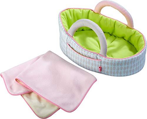 HABA 305071 - Puppentragetasche Apfelgrün, Puppenzubehör für Babypuppen und HABA-Stoffpuppen, Tragetasche und Decke, Spielzeug ab 18 Monaten