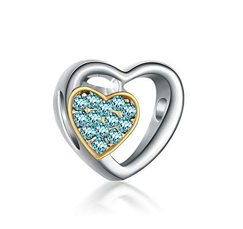 Love 925 Silver Sky Blue CZ Charm Beads Fit sterling Bracelet Necklace #A291 good party decoration designer talisman girl accessories womans charming trendy