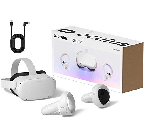 Oculus Quest 2 — Advanced All-in-One Virtual Reality Gaming Headset — White — 256GB Video — Family Holiday Bundle — BROAGE 13ft USB Type-C Link Cable